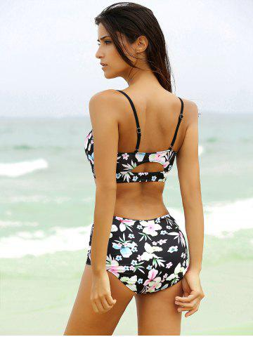 Fancy Sexy Strappy Cute High Waisted Bathing Suit - XL BLACK Mobile