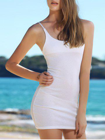 Fancy Alluring Solid Color Spaghetti Strap Bodycon Dress For Women WHITE S