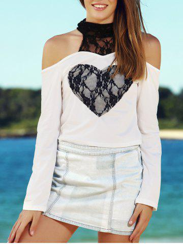 Hot Sexy High Collar Lace Embellished Long Sleeve T-Shirt For Women WHITE S