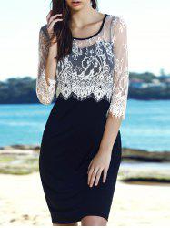 Scoop Neck Lace Panel Bodycon Dress - WHITE AND BLACK 2XL
