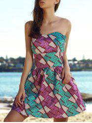 Strapless Colorful Short A Line Formal Dress