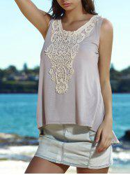 Stylish V-Neck Lace Embellished Tank Top For Women