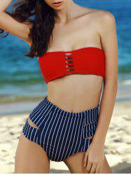 Striped High Waist Push Up Bandeau Bikini Set