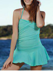 Stylish Solid Color Convertible Halter Flounced One-Piece Swimwear For Women -