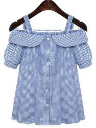 Sweet Plus Size Off-The-Shoulder Plaid Short Sleeve Women's Blouse