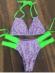 Sweet Tiny Floral Print Halter Neck Women's Bikini Set
