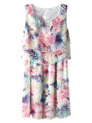 Chiffon Floral Print Mini Summer Dress -