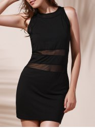 Chic Round Neck See-Through Cut Out Sleeveless Women's Dress -