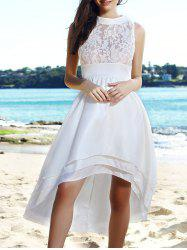 Chic White Sleeveless Layered Asymmetric Maxi Dress For Women
