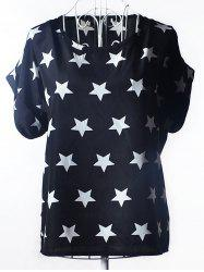 Elegant Plus Size Scoop Neck Stars Pattern Blouse For Women