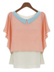 Sweet Peter Pan Collar Color Block Dolman Sleeves Chiffon Blouse For Women