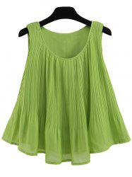 Pleated A Line Chiffon Tank Top - GREEN XL