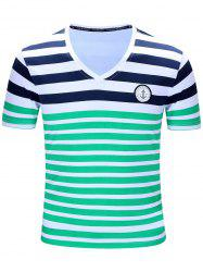 Casual Short Sleeves Striped V-Neck T-Shirt For Men - GREEN M