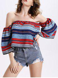 Chic Women's Off The Shoulder Colorful Striped Blouse