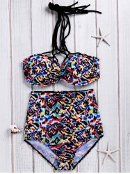 Trendy High-Waisted Plus Size Multicolor Printed Women's Bikini Set