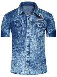 Fashion Single Breasted Short Sleeves Denim Shirts For Men - DEEP BLUE XL