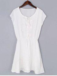 Casual Short Sleeve Drawstring Embroidered Women's Mini Dress -