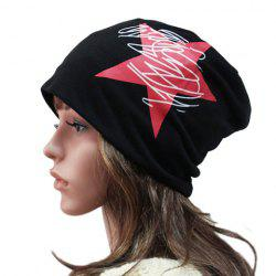 Chic Big Red Five-Pointed Star and Scrawl Pattern Beanie For Women -