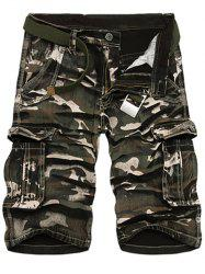 Zipper Fly Loose-Fitting Camo Print Multi-Pockets Straight Leg Cargo Shorts For Men