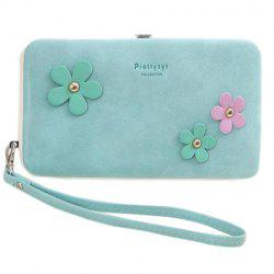Sweet Hasp and Flower Design Clutch Wallet For Women -
