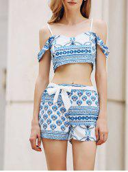 Trendy Spaghetti Straps Crop Top and Printed Shorts Twinset For Women