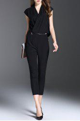 V Neck Solid Color Convertible Jumpsuit - BLACK