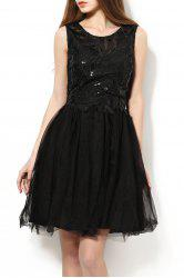 Scoop Neck Sequined Embroidered Ball Dress -