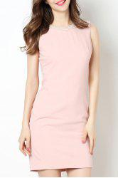 Round Collar Beaded Bodycon Dress -