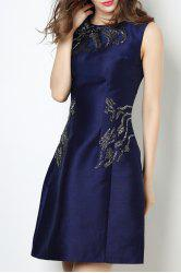 Round Collar Beaded Solid Color Dress -
