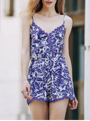 Trendy Spaghetti Strap Cashew Print Romper For Women - BLUE/WHITE XL