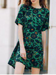 Sweet A-Line Printed Short Sleeve Women's Dress