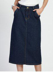 High Waist Bleach Wash Denim Skirt With Pockets - DENIM BLUE