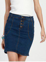 Chic Women's Bleach Wash High Waist Denim Pencil Skirt