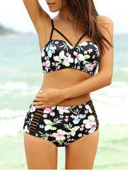 Sexy Strappy Cute High Waisted Bathing Suit - BLACK