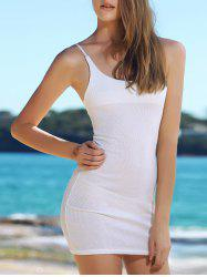 Alluring Solid Color Spaghetti Strap Bodycon Dress For Women - WHITE