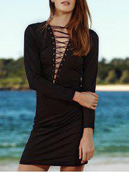 Sexy Long Sleeve Criss-Cross Lattice Front Dress -