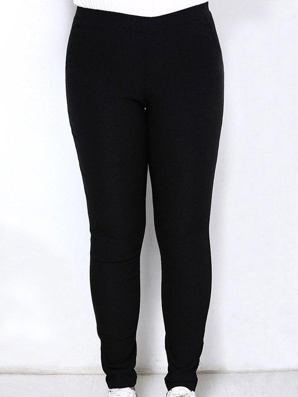 Casual Plus Size High Waist Solid Color Elastic Ankle Pants For WomenWOMEN<br><br>Size: 3XL; Color: BLACK; Style: Casual; Length: Ninth; Material: Polyester; Fit Type: Skinny; Waist Type: High; Closure Type: Elastic Waist; Pattern Type: Solid; Pant Style: Pencil Pants; Weight: 0.327kg; Package Contents: 1 x Pants;