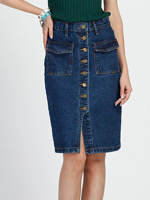 high waisted denim pencil skirt denim blue l chic women s high waist denim pencil skirt 374