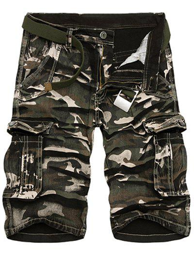Zipper Fly Loose-Fitting Camo Print Multi-Pockets Straight Leg Cargo Shorts For Men от Rosegal.com INT