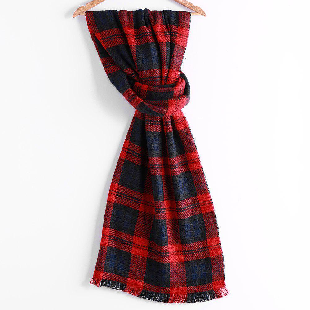 Outfits Chic Houndstooth Patchwork Plaid Pattern Fringed Edge Winter Scarf For Women