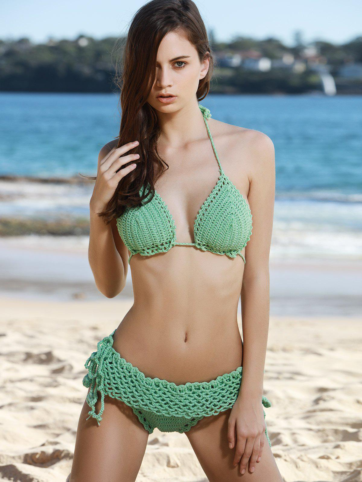 d28ab0bb619375 Fashion Halter Solid Colour Crochet Bikini Set For Women - One Size(fit  Size Xs To M)