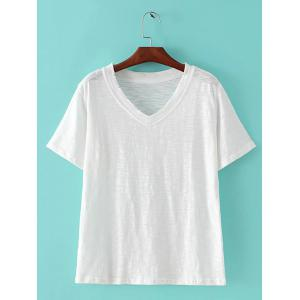 Chic Women's Candy Color V Neck Short Sleeve T-Shirt - White - One Size(fit Size Xs To M)