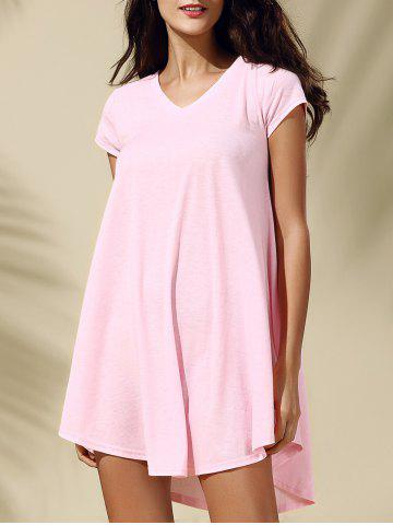 Affordable Chic Women's Cap Sleeve Pink V Neck Dress