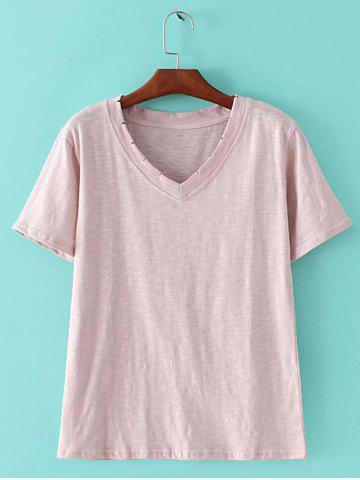 Fashion Chic Women's Candy Color V Neck Short Sleeve T-Shirt