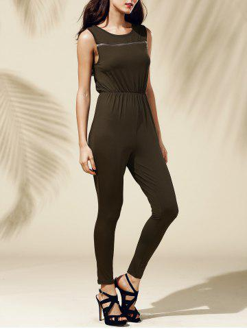 Jewel Neck Sleeveless Pure Color Jumpsuit