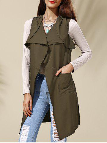Unique Turn-Down Collar Belted Long Waistcoat