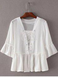 Chic Women's Bell Sleeve Flounce Solid Color Blouse -