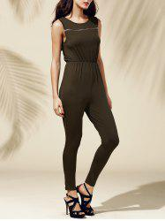 Chic Women's Jewel Neck Sleeveless Pure Color Jumpsuit -