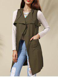 Turn-Down Collar Belted Long Waistcoat -