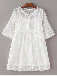 Chic Women's Bell Sleeve Pure Color Dress+ Tank Top -